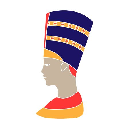 Bust of Nefertiti icon in colour style isolated on white background. Ancient Egypt symbol stock vector illustration. Standard-Bild - 129176075