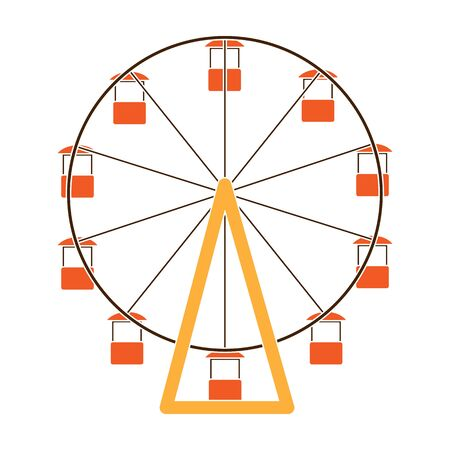 The wheel is in the amusement park. Slow attraction to explore the city.Amusement park single icon in colour style vector symbol stock illustration.