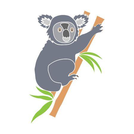 Australian koala icon in colour style isolated on white background. Australia symbol stock vector illustration. Stock Illustratie