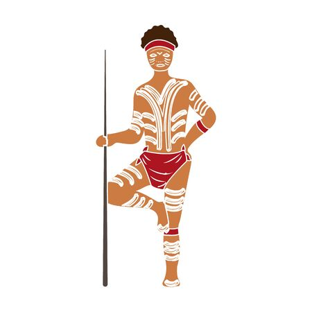 Astralian aborigine icon in colour style isolated on white background. Australia symbol stock vector illustration. Standard-Bild - 129176225