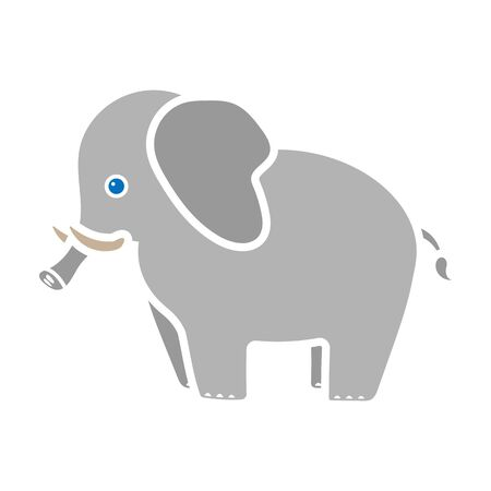 Elephant icon in colour style isolated on white background. Animals symbol stock vector illustration.