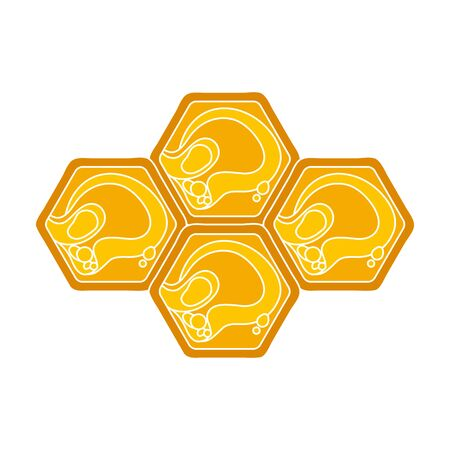 Honeycombs icon in colour style isolated on white background. Apiary symbol stock vector illustration