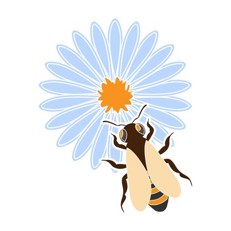 Bee on the flower icon in colour style isolated on white background. Apiary symbol stock vector illustration Illustration