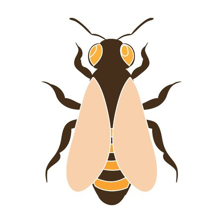 Bee icon in colour style isolated on white background. Apiary symbol stock vector illustration Ilustracja