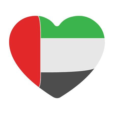United Arab Emirates heart icon in colour style isolated on white background. Arab Emirates symbol stock vector illustration.