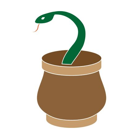 Snake in basket icon in colour style isolated on white background. Arab Emirates symbol stock vector illustration. Ilustracja