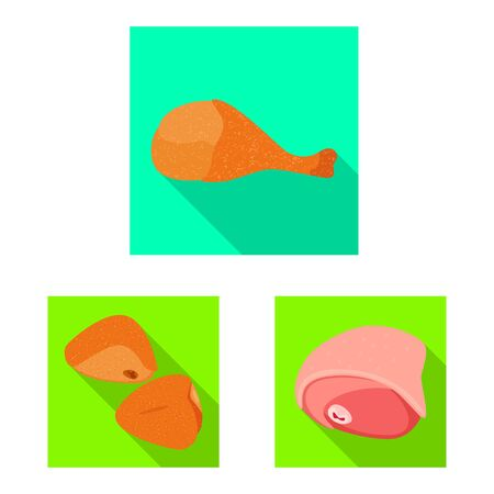 Vector design of product and poultry . Set of product and agriculture stock symbol for web.