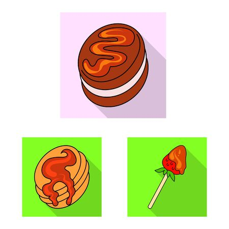 Vector design of confectionery and culinary icon. Set of confectionery and colorful stock symbol for web. Ilustracja