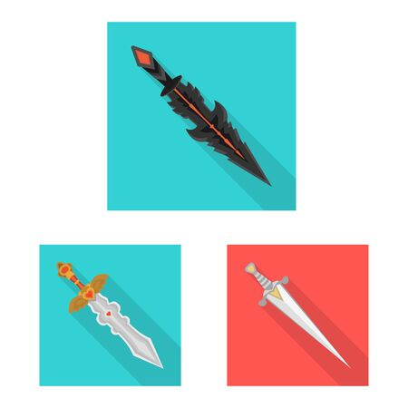 Vector illustration of and sword icon. Set of and knife stock symbol for web. Иллюстрация