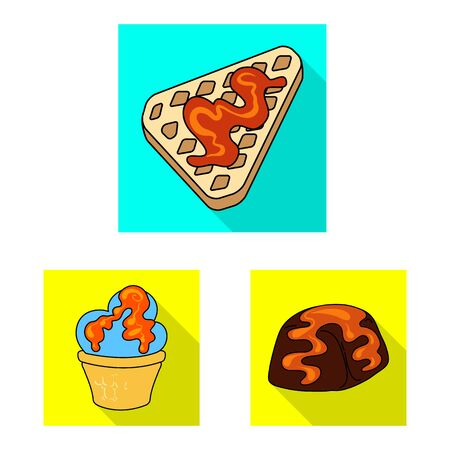 Vector design of confectionery and culinary sign. Set of confectionery and colorful vector icon for stock. Ilustracja