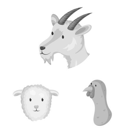 Isolated object of countryside and homestead icon. Set of countryside and breeding stock symbol for web. Stock Illustratie