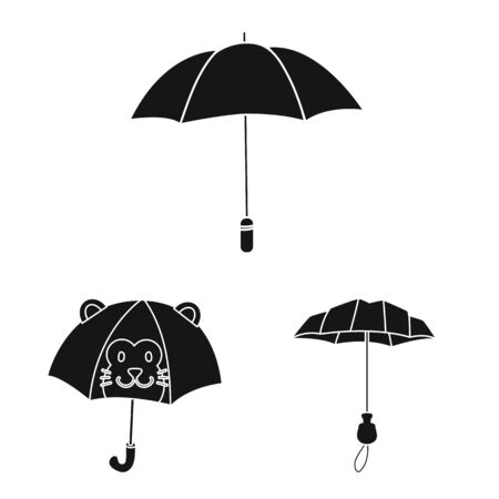 Vector design of weather and rainy icon. Set of weather and rain stock vector illustration.