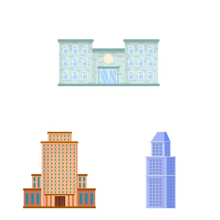 Vector illustration of facade and building icon. Collection of facade and exterior stock symbol for web. Фото со стока - 129267319