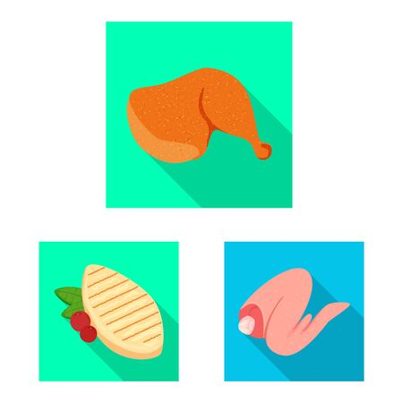 Vector illustration of product and poultry. Set of product and agriculture vector icon for stock.