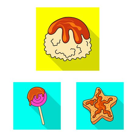 Isolated object of confectionery and culinary icon. Collection of confectionery and colorful vector icon for stock.