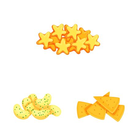 Vector design of food and crunchy icon. Collection of food and flavor stock symbol for web.