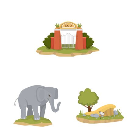Vector illustration of zoo and park . Collection of zoo and animal stock vector illustration.
