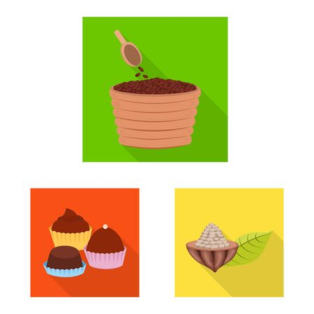 Vector illustration of treat and product. Set of treat and yummy stock vector illustration. Illustration