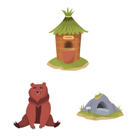 Vector design of zoo and park icon. Set of zoo and animal stock vector illustration.