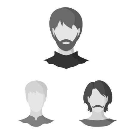 Vector illustration of character and profile. Set of character and dummy stock vector illustration.