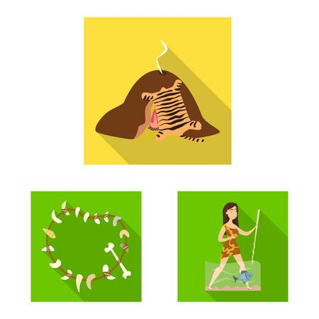 Isolated object of evolution and prehistory icon. Collection of evolution and development stock vector illustration.