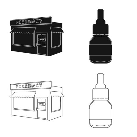 Vector illustration of retail and healthcare. Set of retail and wellness vector icon for stock.