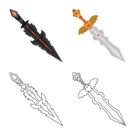 Isolated object of game and armor symbol. Collection of game and blade stock symbol for web.