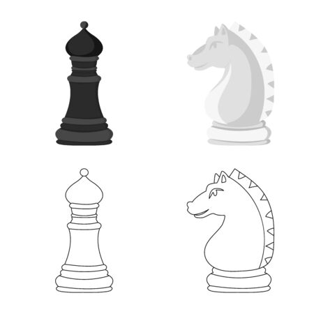 Vector illustration of checkmate and thin symbol. Collection of checkmate and target vector icon for stock. Stock Illustratie