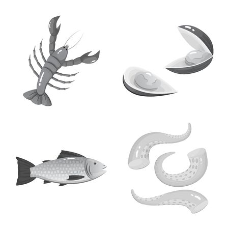 Vector design of seafood and healthy symbol. Collection of seafood and ocean stock symbol for web. Ilustracja