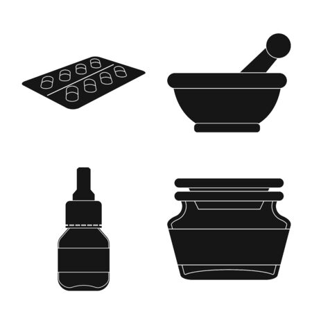 Vector illustration of treatment and wellness. Collection of treatment and pharmaceutical vector icon for stock.