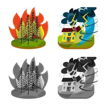 Vector illustration of weather and distress symbol. Collection of weather and crash stock vector illustration. Ilustracja