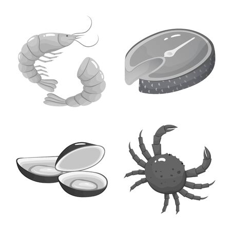 Isolated object of seafood and healthy symbol. Collection of seafood and ocean stock vector illustration.