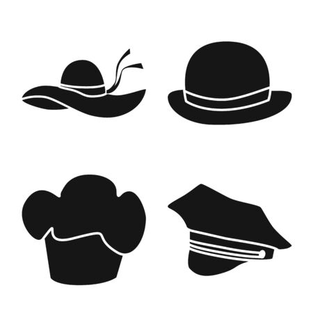 Vector illustration of beanie and beret sign. Collection of beanie and napper stock vector illustration. Иллюстрация
