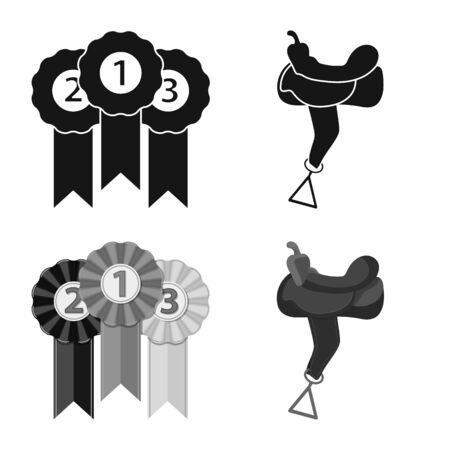 Vector design of equipment and riding symbol. Set of equipment and competition stock symbol for web.