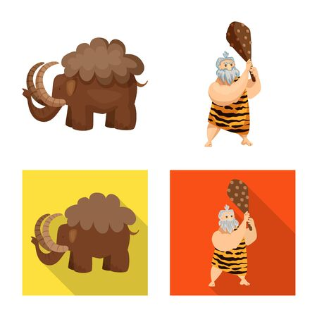 Isolated object of evolution and prehistory symbol. Set of evolution and development vector icon for stock. 일러스트