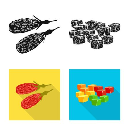 Isolated object of food and raw. Set of food and nature vector icon for stock. Illustration