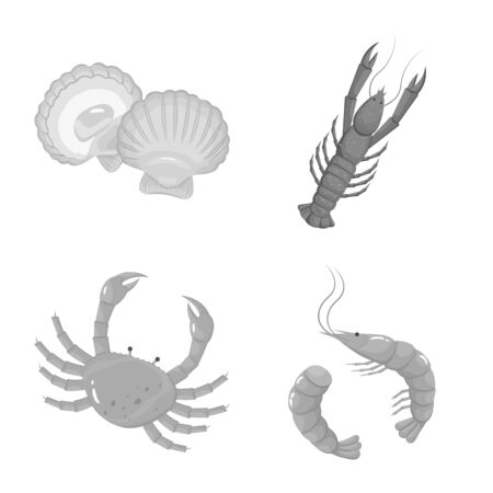 Vector design of seafood and healthy. Collection of seafood and ocean stock symbol for web.