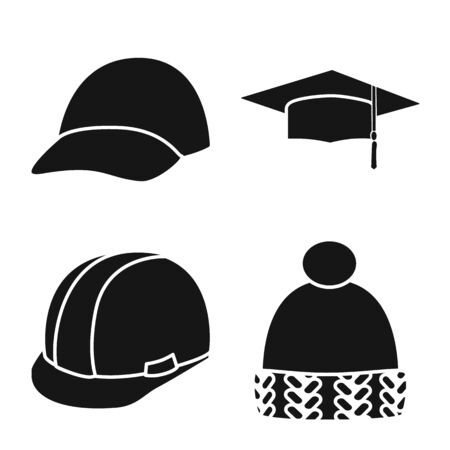 Vector design of beanie and beret icon. Collection of beanie and napper vector icon for stock.