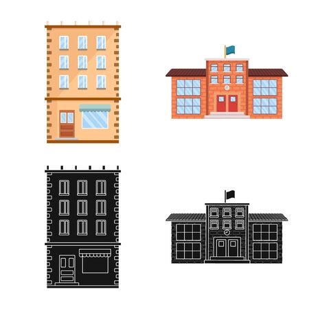 Vector design of municipal and center icon. Set of municipal and estate stock vector illustration. Standard-Bild - 129268209