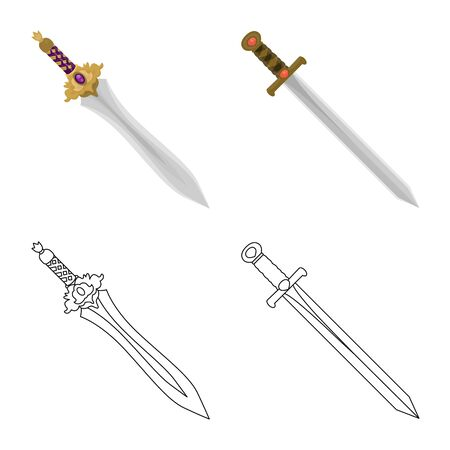 Vector illustration of game and armor. Collection of game and blade vector icon for stock.