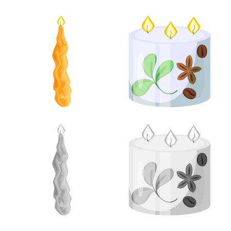 Vector illustration of relaxation and flame sign. Collection of relaxation and wax stock symbol for web.