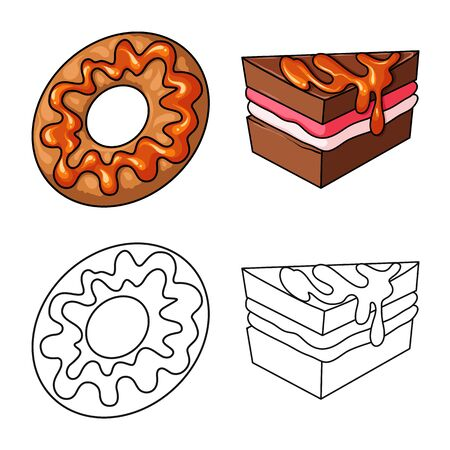 Vector design of confectionery and culinary icon. Collection of confectionery and product vector icon for stock. Ilustracja