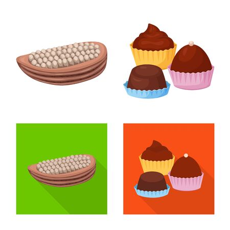 Isolated object of food and yummy. Set of food and brown stock vector illustration. Illustration