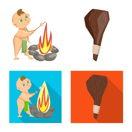Vector illustration of evolution and prehistory symbol. Set of evolution and development stock symbol for web.