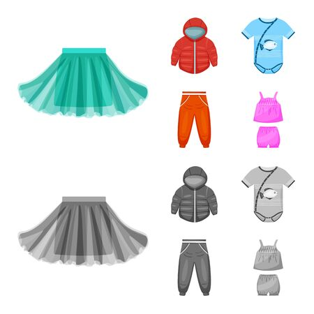 Isolated object of fashion and garment icon. Set of fashion and cotton vector icon for stock.