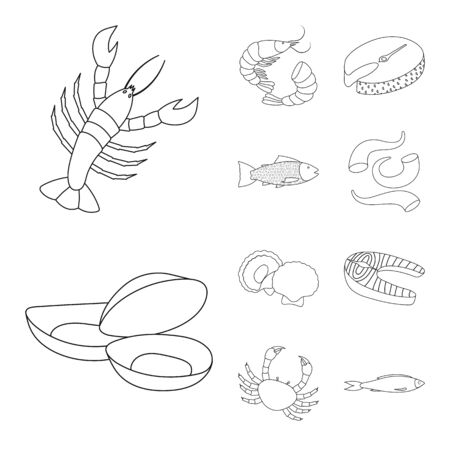 Vector design of food and sea icon. Collection of food and healthy vector icon for stock.