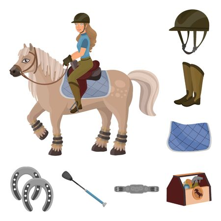 Vector illustration of horseback and equestrian icon. Collection of horseback and horse vector icon for stock.