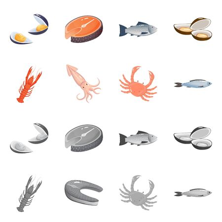 Vector design of fresh and restaurant . Set of fresh and marine vector icon for stock.