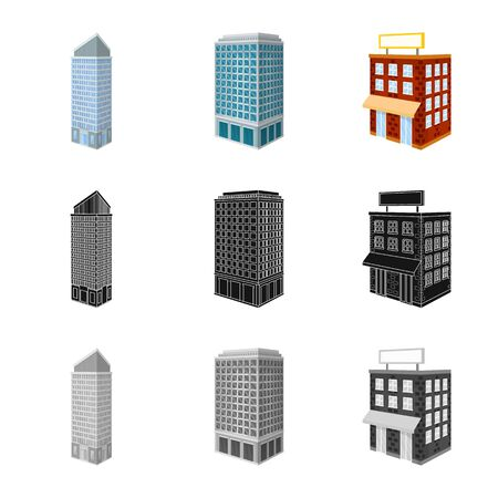 Isolated object of construction and building icon. Collection of construction and estate stock symbol for web. Ilustração