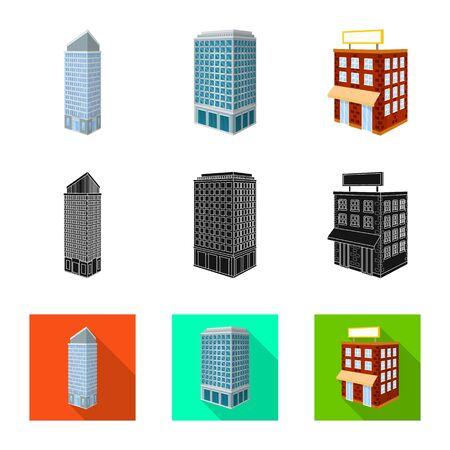 Vector illustration of construction and building icon. Set of construction and estate vector icon for stock. Ilustração